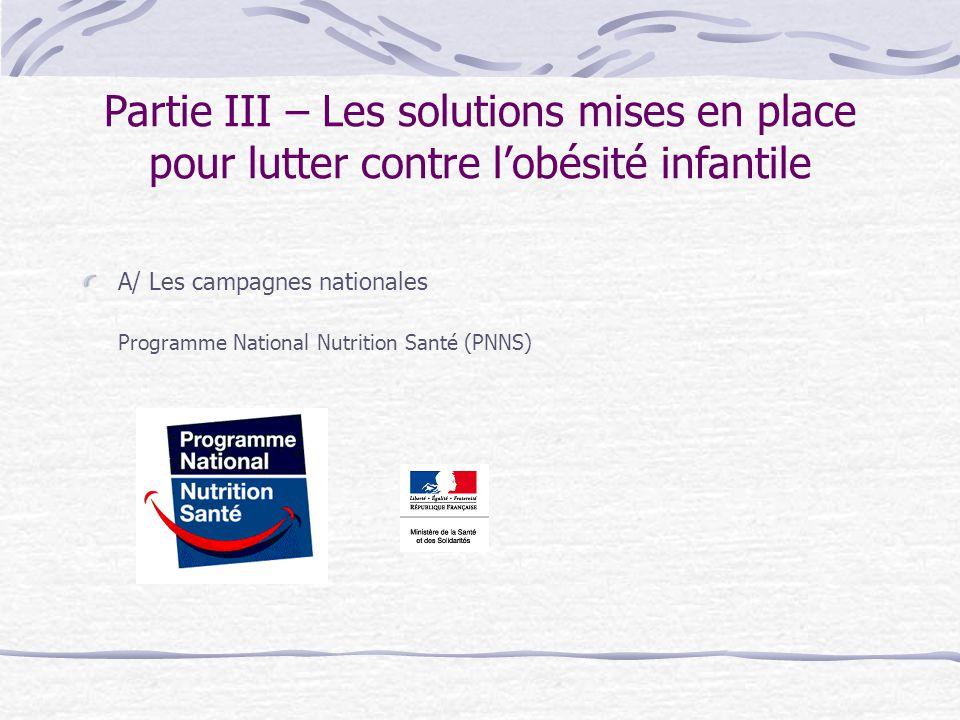 Partie III – Les solutions mises en place pour lutter contre lobésité infantile A/ Les campagnes nationales Programme National Nutrition Santé (PNNS)