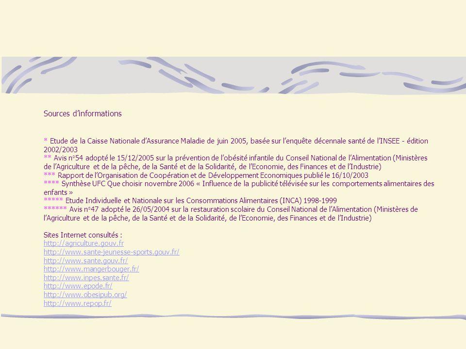Sources dinformations * Etude de la Caisse Nationale dAssurance Maladie de juin 2005, basée sur lenquête décennale santé de lINSEE - édition 2002/2003