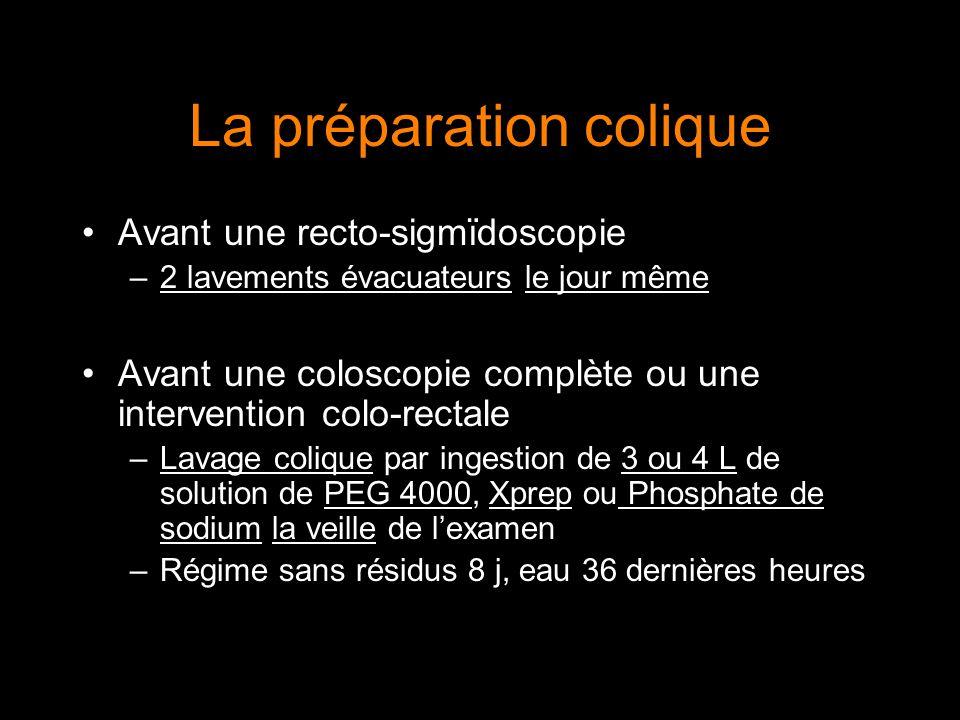 La préparation colique Avant une recto-sigmïdoscopie –2 lavements évacuateurs le jour même Avant une coloscopie complète ou une intervention colo-rect