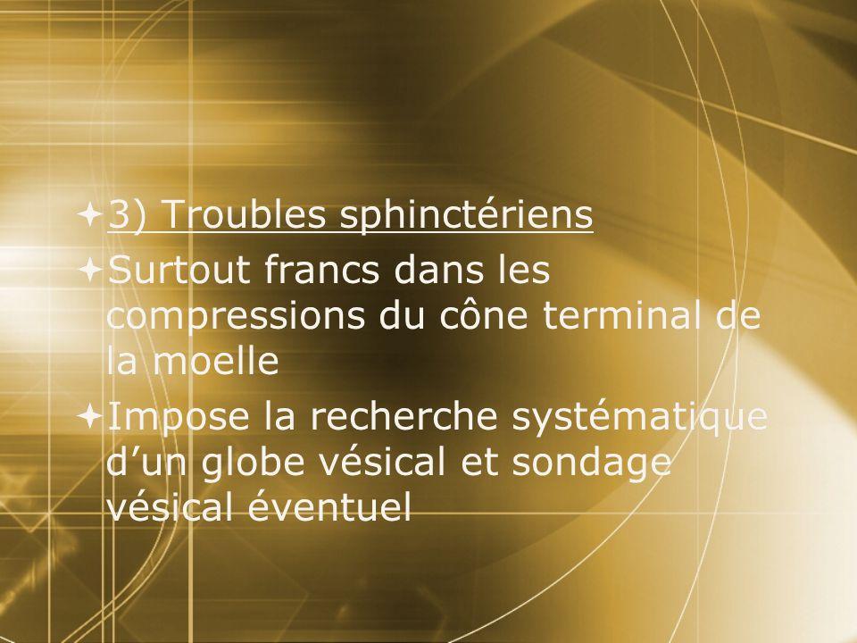 3) Troubles sphinctériens Surtout francs dans les compressions du cône terminal de la moelle Impose la recherche systématique dun globe vésical et son
