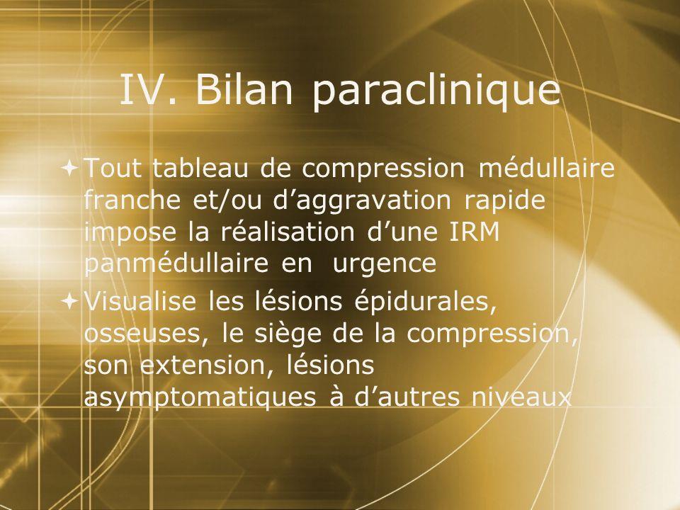 IV. Bilan paraclinique Tout tableau de compression médullaire franche et/ou daggravation rapide impose la réalisation dune IRM panmédullaire en urgenc