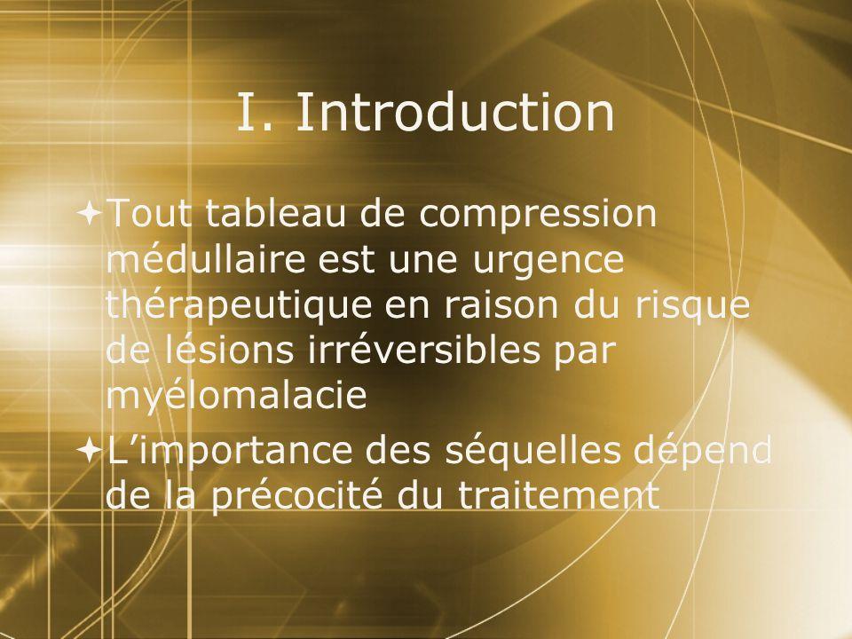 I. Introduction Tout tableau de compression médullaire est une urgence thérapeutique en raison du risque de lésions irréversibles par myélomalacie Lim