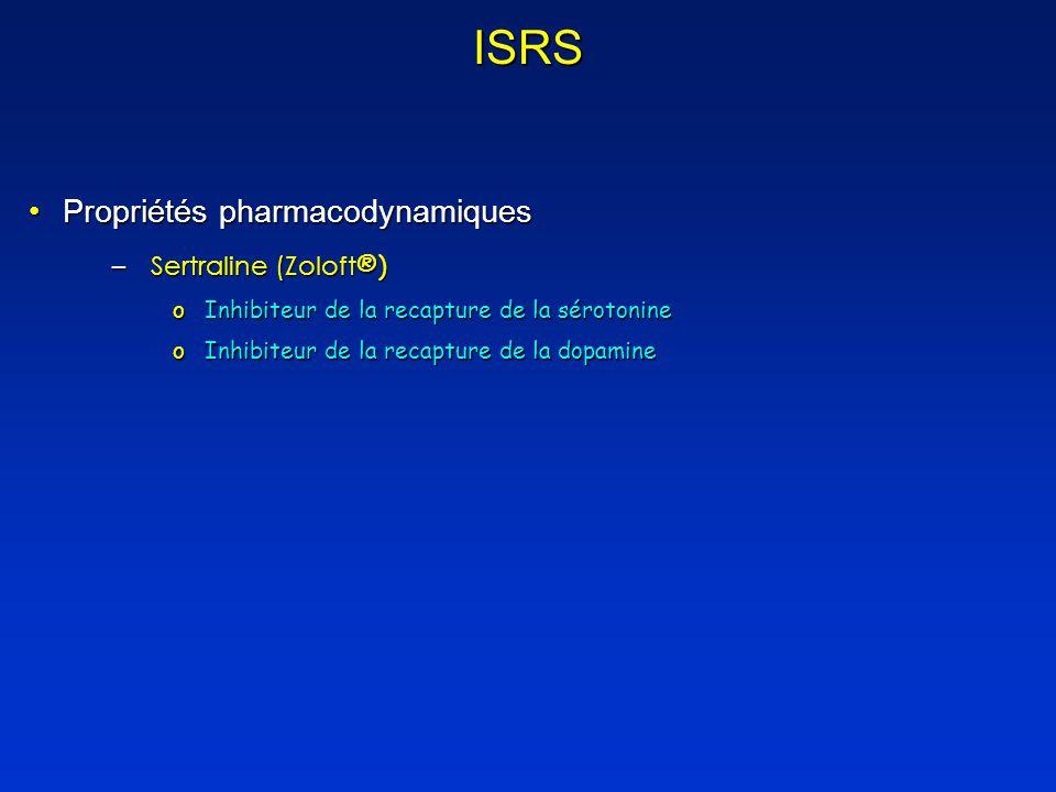 ISRS Propriétés pharmacodynamiquesPropriétés pharmacodynamiques –Sertraline (Zoloft ®) oInhibiteur de la recapture de la sérotonine oInhibiteur de la recapture de la dopamine