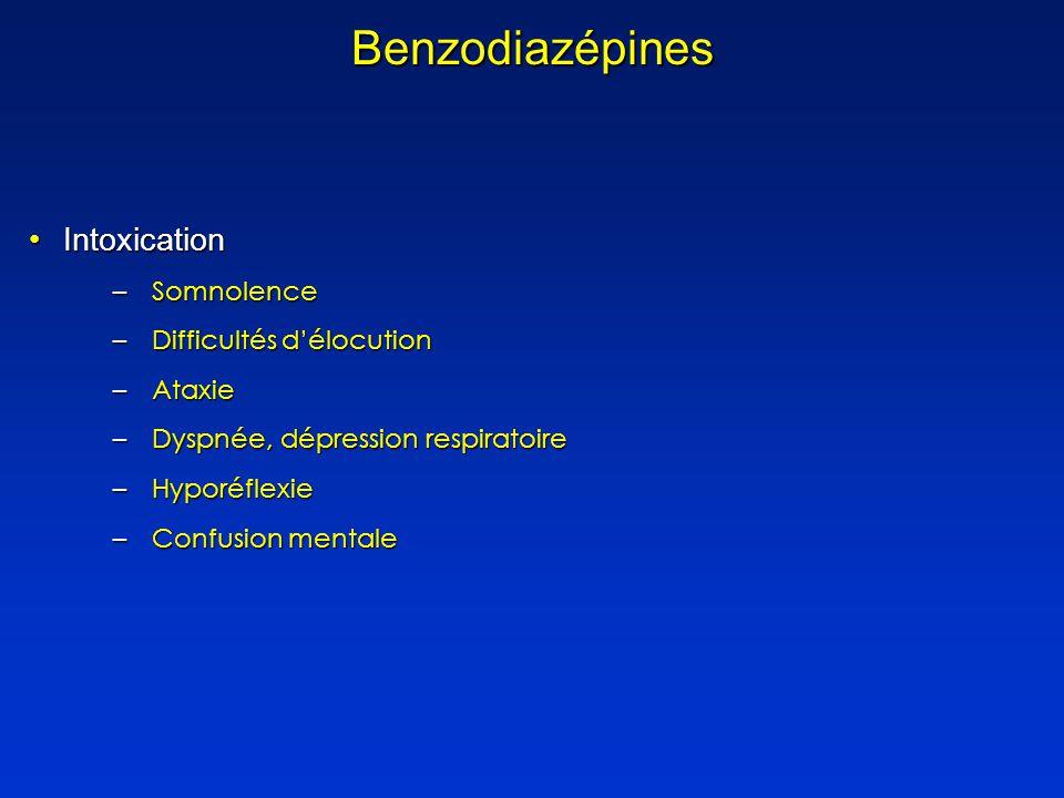 IntoxicationIntoxication –Somnolence –Difficultés délocution –Ataxie –Dyspnée, dépression respiratoire –Hyporéflexie –Confusion mentale Benzodiazépines