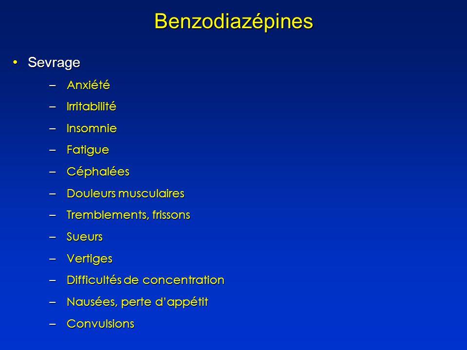 SevrageSevrage –Anxiété –Irritabilité –Insomnie –Fatigue –Céphalées –Douleurs musculaires –Tremblements, frissons –Sueurs –Vertiges –Difficultés de concentration –Nausées, perte dappétit –Convulsions Benzodiazépines