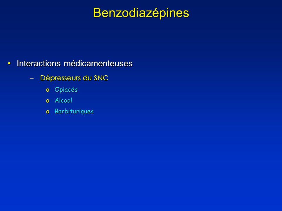 Benzodiazépines Interactions médicamenteusesInteractions médicamenteuses –Dépresseurs du SNC oOpiacés oAlcool oBarbituriques
