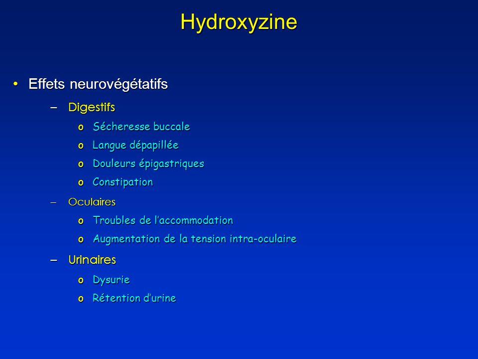 Hydroxyzine Effets neurovégétatifsEffets neurovégétatifs –Digestifs oSécheresse buccale oLangue dépapillée oDouleurs épigastriques oConstipation –Oculaires oTroubles de laccommodation oAugmentation de la tension intra-oculaire –Urinaires oDysurie oRétention durine