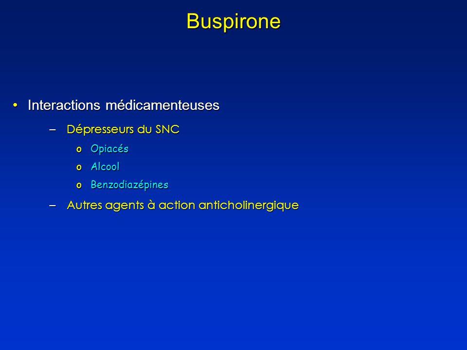 Buspirone Interactions médicamenteusesInteractions médicamenteuses –Dépresseurs du SNC oOpiacés oAlcool oBenzodiazépines –Autres agents à action anticholinergique