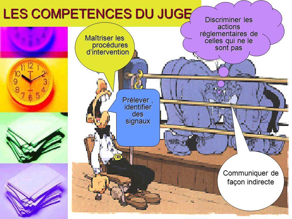 LES COMPETENCES DU JUGE Maîtriser les procédures dintervention Discriminer les actions réglementaires de celles qui ne le sont pas Prélever, identifie