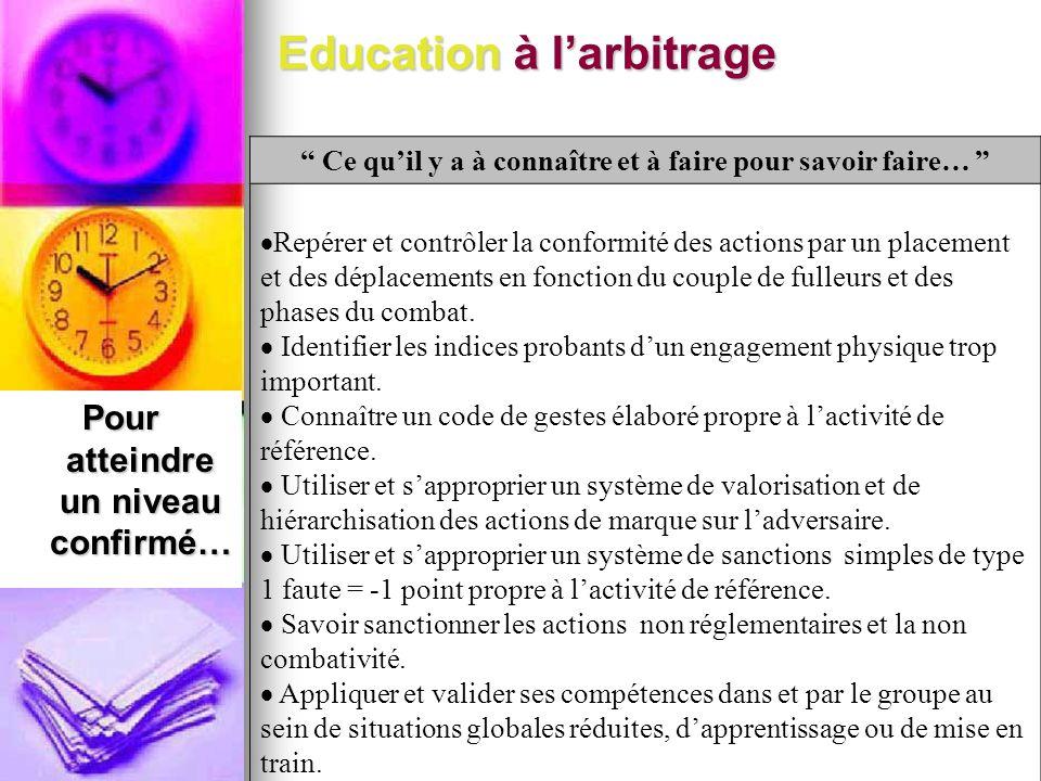 Education à larbitrage Pour atteindre un niveau confirmé… Ce quil y a à connaître et à faire pour savoir faire… Repérer et contrôler la conformité des