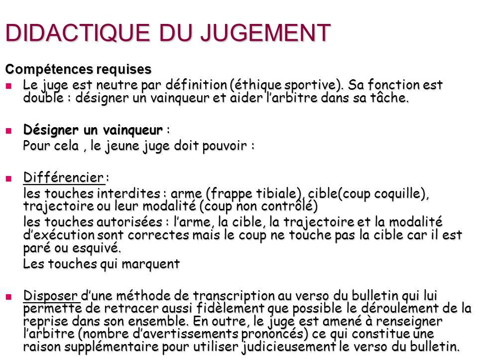 DIDACTIQUE DU JUGEMENT Compétences requises Le juge est neutre par définition (éthique sportive). Sa fonction est double : désigner un vainqueur et ai