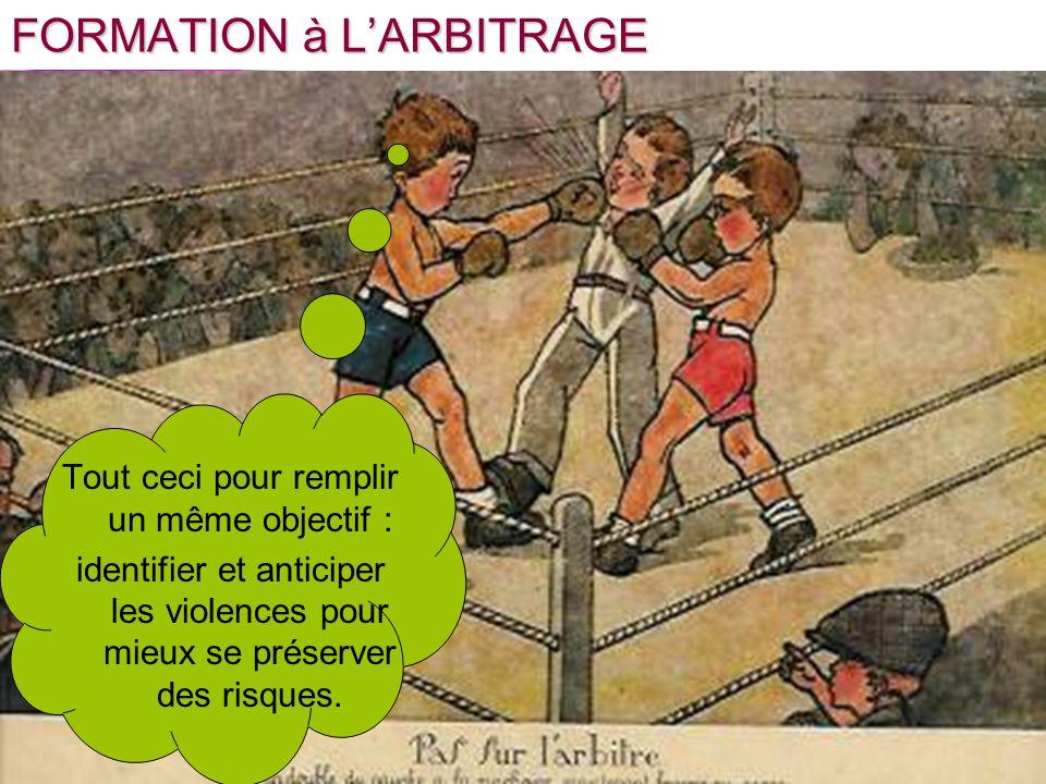 FORMATION à LARBITRAGE Tout ceci pour remplir un même objectif : identifier et anticiper les violences pour mieux se préserver des risques.