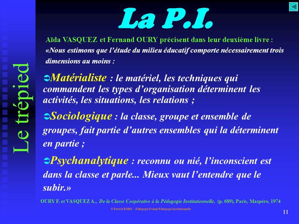 © Patrick ROBO - Pédagogie Freinet Pédagogie Instituionnelle 10 Le trépied... P.I. techniquesgroupes inconscient fondements
