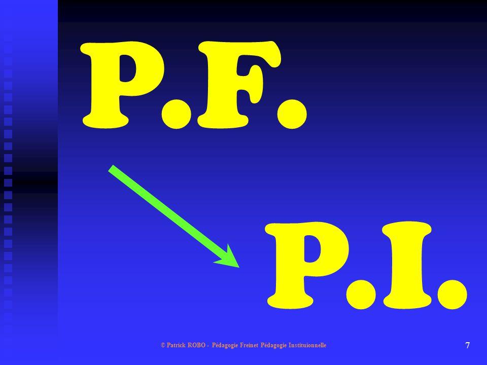 © Patrick ROBO - Pédagogie Freinet Pédagogie Instituionnelle 6 Les composantes du système LES ELEMENTS DU PARADIGME... Des conceptions... Des valeurs.