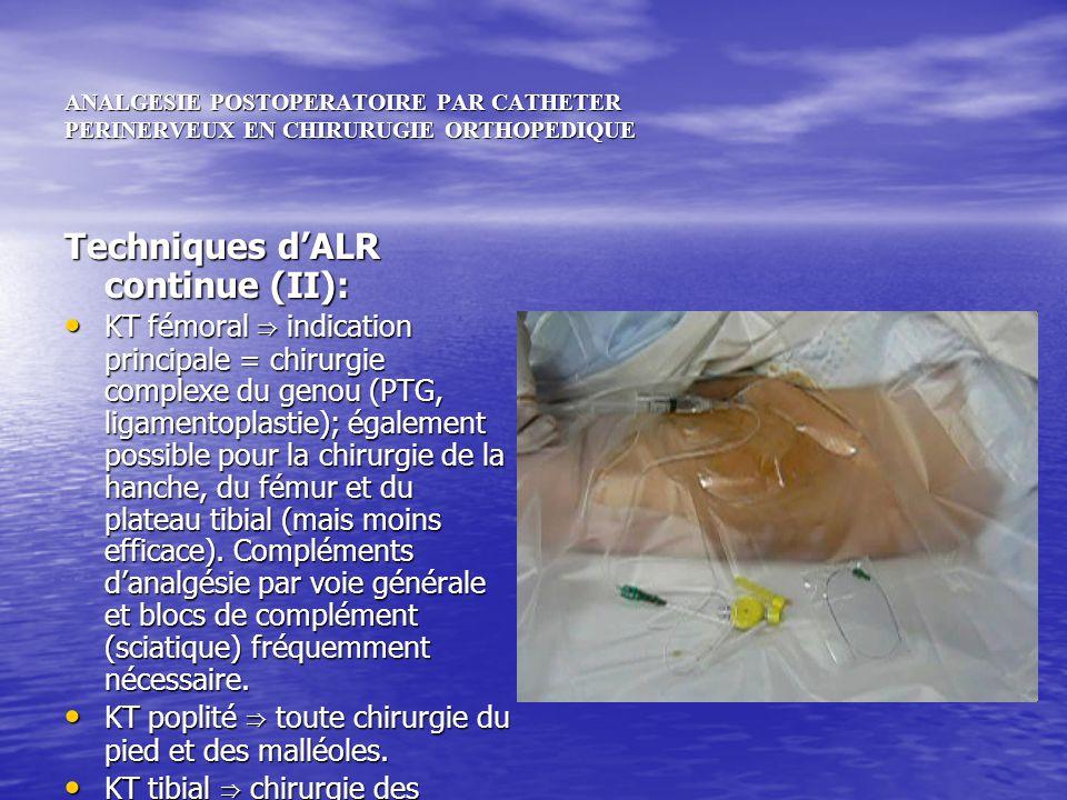 ANALGESIE POSTOPERATOIRE PAR CATHETER PERINERVEUX EN CHIRURUGIE ORTHOPEDIQUE Techniques dALR continue (II): KT fémoral indication principale = chirurg