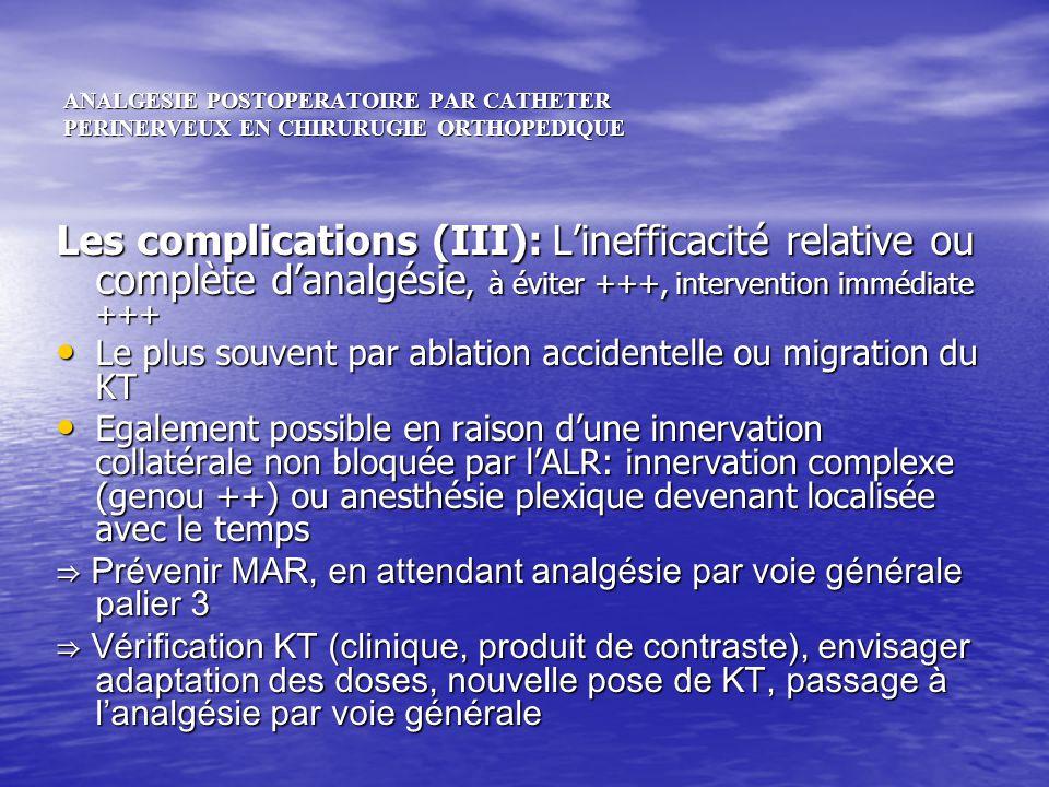 ANALGESIE POSTOPERATOIRE PAR CATHETER PERINERVEUX EN CHIRURUGIE ORTHOPEDIQUE Les complications (III): Linefficacité relative ou complète danalgésie, à