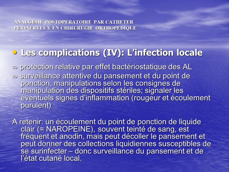 ANALGESIE POSTOPERATOIRE PAR CATHETER PERINERVEUX EN CHIRURUGIE ORTHOPEDIQUE Les complications (IV): Linfection locale Les complications (IV): Linfect