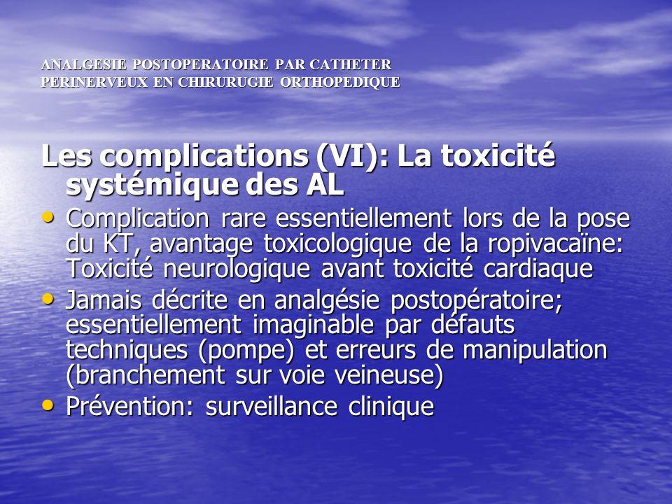 ANALGESIE POSTOPERATOIRE PAR CATHETER PERINERVEUX EN CHIRURUGIE ORTHOPEDIQUE Les complications (VI): La toxicité systémique des AL Complication rare e