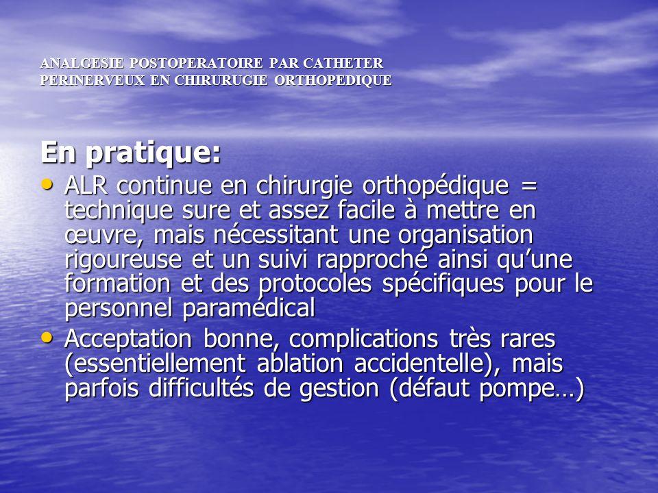 ANALGESIE POSTOPERATOIRE PAR CATHETER PERINERVEUX EN CHIRURUGIE ORTHOPEDIQUE En pratique: ALR continue en chirurgie orthopédique = technique sure et a