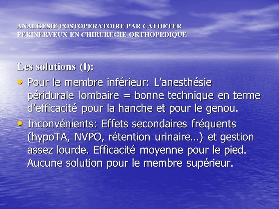 ANALGESIE POSTOPERATOIRE PAR CATHETER PERINERVEUX EN CHIRURUGIE ORTHOPEDIQUE Les solutions (I): Pour le membre inférieur: Lanesthésie péridurale lomba