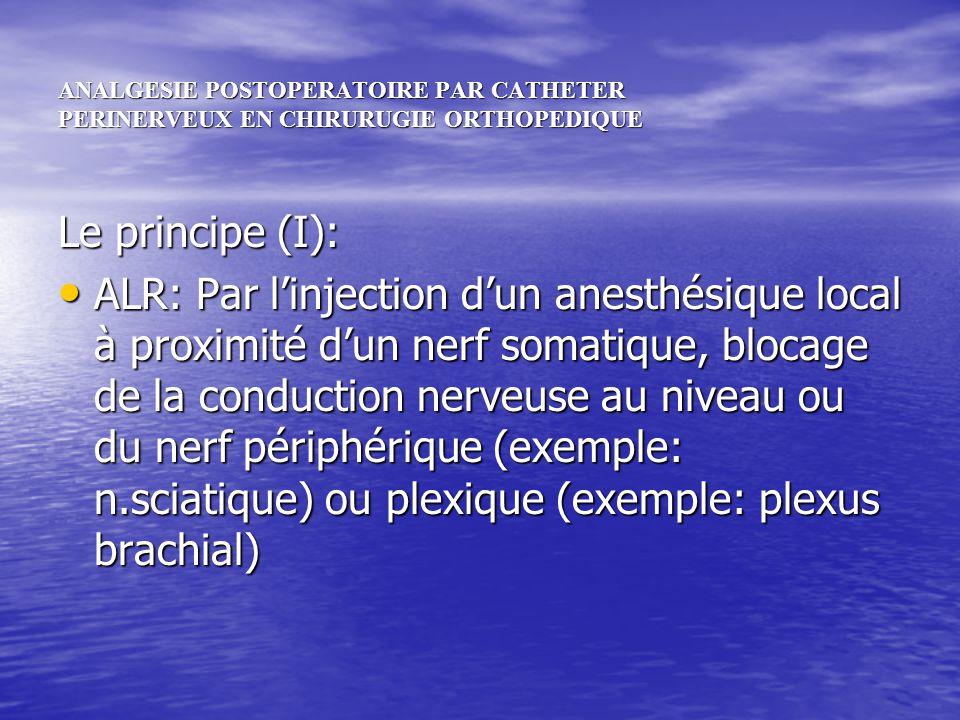 ANALGESIE POSTOPERATOIRE PAR CATHETER PERINERVEUX EN CHIRURUGIE ORTHOPEDIQUE Le principe (I): ALR: Par linjection dun anesthésique local à proximité d