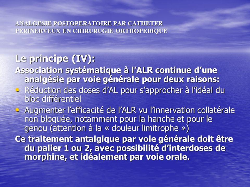 ANALGESIE POSTOPERATOIRE PAR CATHETER PERINERVEUX EN CHIRURUGIE ORTHOPEDIQUE Le principe (IV): Association systématique à lALR continue dune analgésie