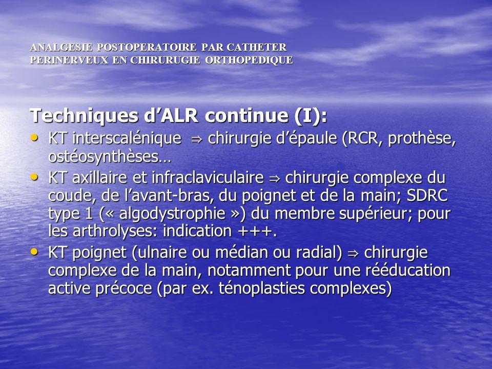 ANALGESIE POSTOPERATOIRE PAR CATHETER PERINERVEUX EN CHIRURUGIE ORTHOPEDIQUE Techniques dALR continue (I): KT interscalénique chirurgie dépaule (RCR,
