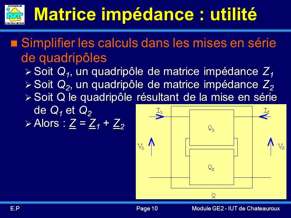 Page 10E.PModule GE2 - IUT de Chateauroux Matrice impédance : utilité Simplifier les calculs dans les mises en série de quadripôles Soit Q 1, un quadripôle de matrice impédance Z 1 Soit Q 1, un quadripôle de matrice impédance Z 1 Soit Q 2, un quadripôle de matrice impédance Z 2 Soit Q 2, un quadripôle de matrice impédance Z 2 Soit Q le quadripôle résultant de la mise en série de Q 1 et Q 2 Soit Q le quadripôle résultant de la mise en série de Q 1 et Q 2 Alors : Z = Z 1 + Z 2 Alors : Z = Z 1 + Z 2
