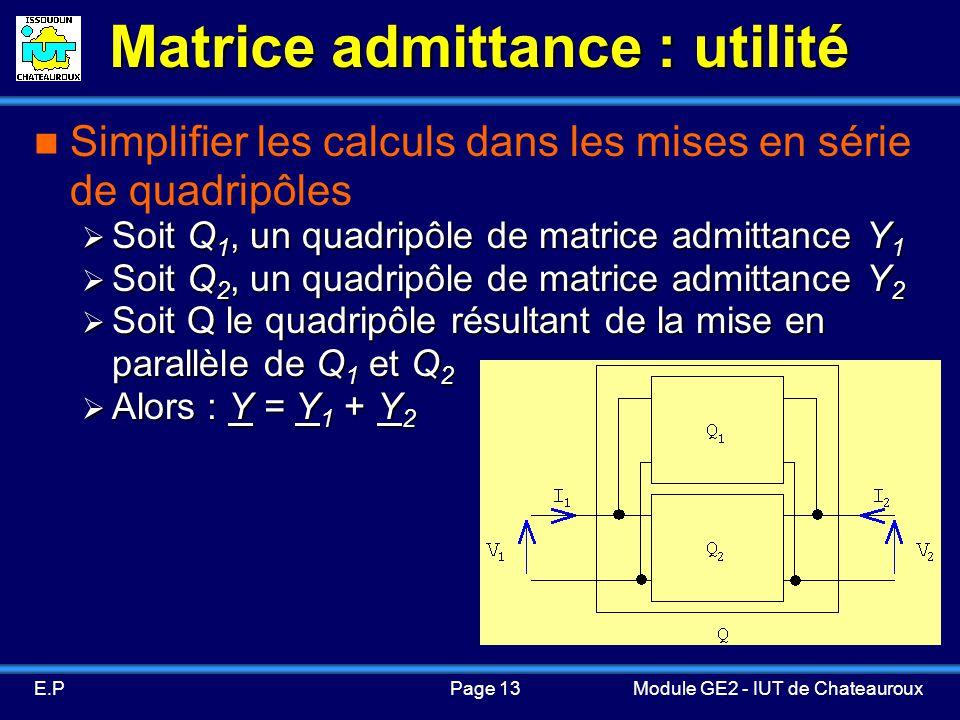 Page 13E.PModule GE2 - IUT de Chateauroux Matrice admittance : utilité Simplifier les calculs dans les mises en série de quadripôles Soit Q 1, un quadripôle de matrice admittance Y 1 Soit Q 1, un quadripôle de matrice admittance Y 1 Soit Q 2, un quadripôle de matrice admittance Y 2 Soit Q 2, un quadripôle de matrice admittance Y 2 Soit Q le quadripôle résultant de la mise en parallèle de Q 1 et Q 2 Soit Q le quadripôle résultant de la mise en parallèle de Q 1 et Q 2 Alors : Y = Y 1 + Y 2 Alors : Y = Y 1 + Y 2