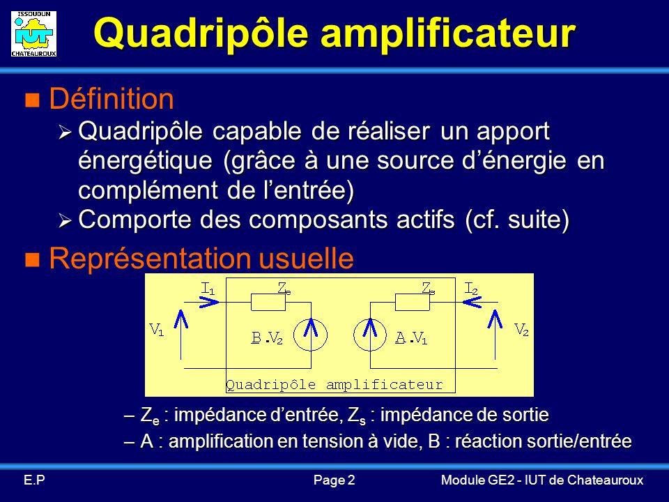 Page 2E.PModule GE2 - IUT de Chateauroux Quadripôle amplificateur Définition Quadripôle capable de réaliser un apport énergétique (grâce à une source dénergie en complément de lentrée) Quadripôle capable de réaliser un apport énergétique (grâce à une source dénergie en complément de lentrée) Comporte des composants actifs (cf.