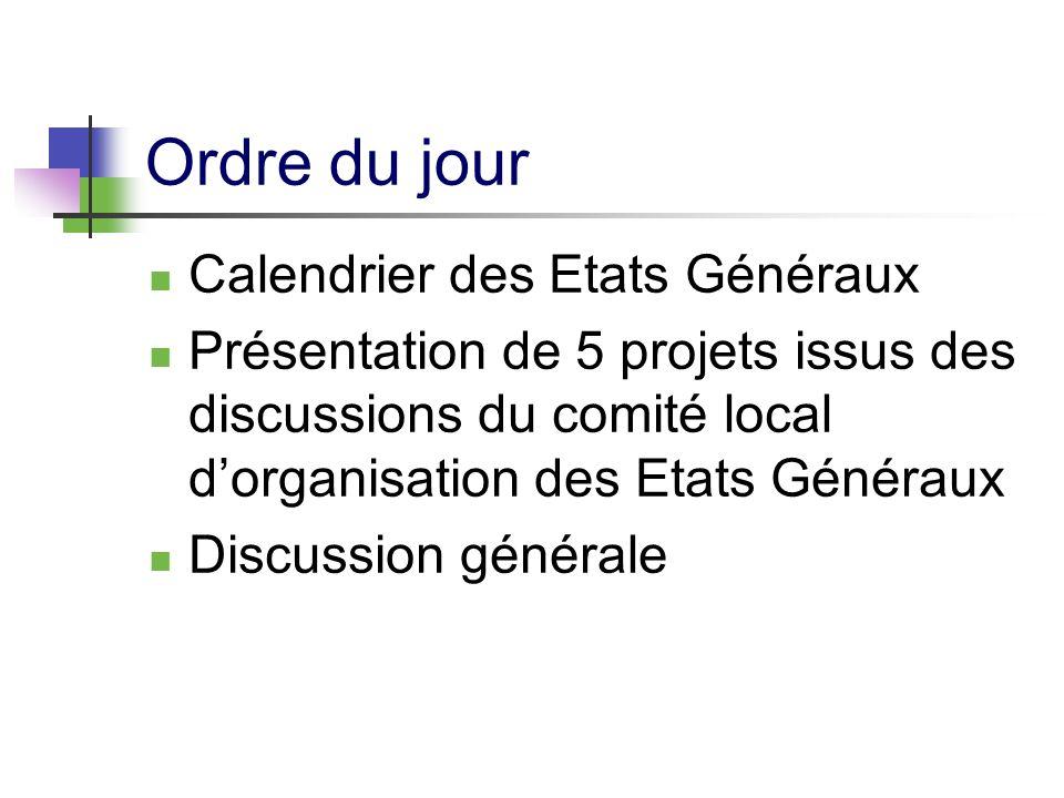 Ordre du jour Calendrier des Etats Généraux Présentation de 5 projets issus des discussions du comité local dorganisation des Etats Généraux Discussion générale