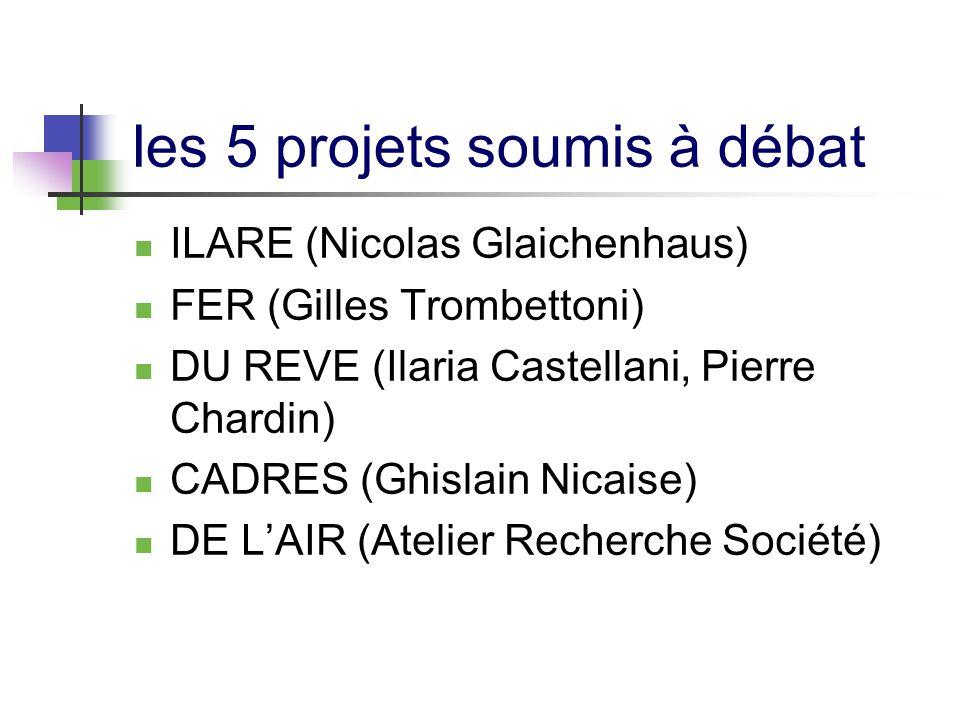 Ies 5 projets soumis à débat ILARE (Nicolas Glaichenhaus) FER (Gilles Trombettoni) DU REVE (Ilaria Castellani, Pierre Chardin) CADRES (Ghislain Nicaise) DE LAIR (Atelier Recherche Société)