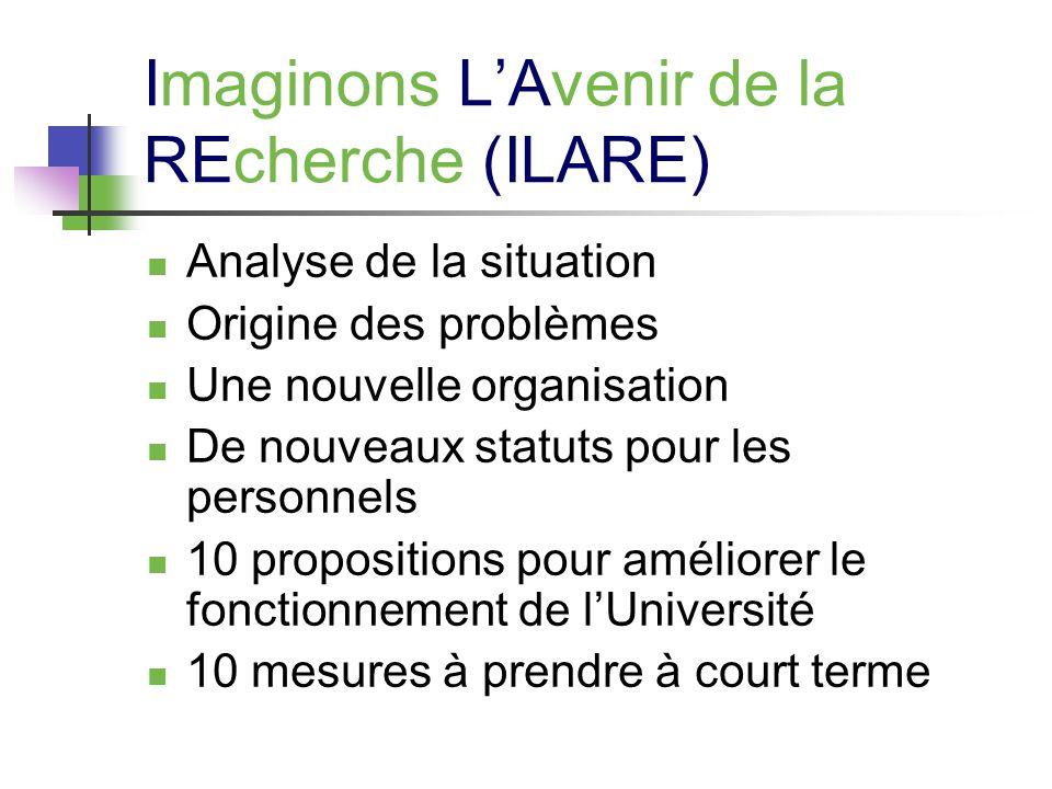 Imaginons LAvenir de la REcherche (ILARE) Analyse de la situation Origine des problèmes Une nouvelle organisation De nouveaux statuts pour les personnels 10 propositions pour améliorer le fonctionnement de lUniversité 10 mesures à prendre à court terme