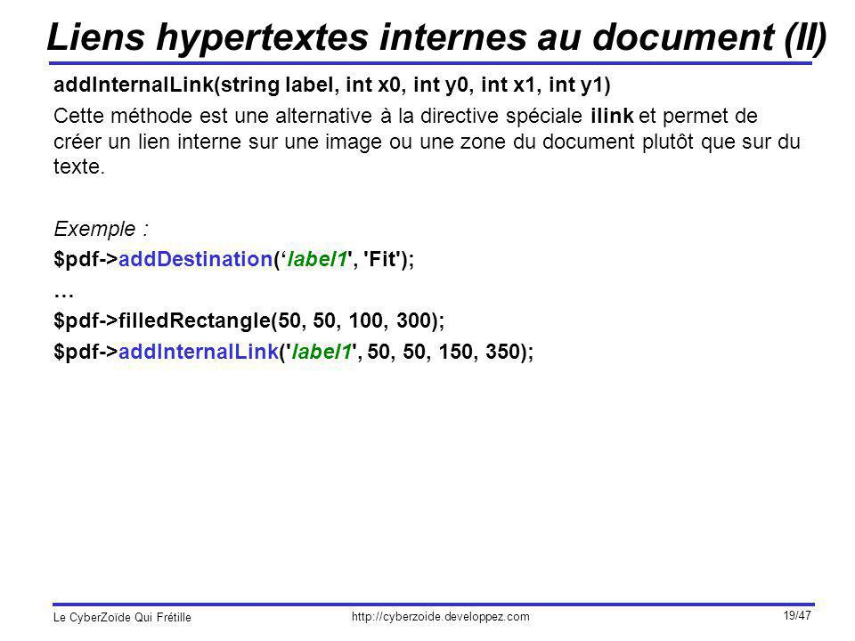 http://cyberzoide.developpez.com Le CyberZoïde Qui Frétille 19/47 Liens hypertextes internes au document (II) addInternalLink(string label, int x0, in