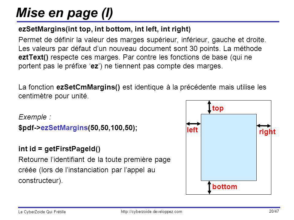 http://cyberzoide.developpez.com Le CyberZoïde Qui Frétille 20/47 Mise en page (I) ezSetMargins(int top, int bottom, int left, int right) Permet de dé