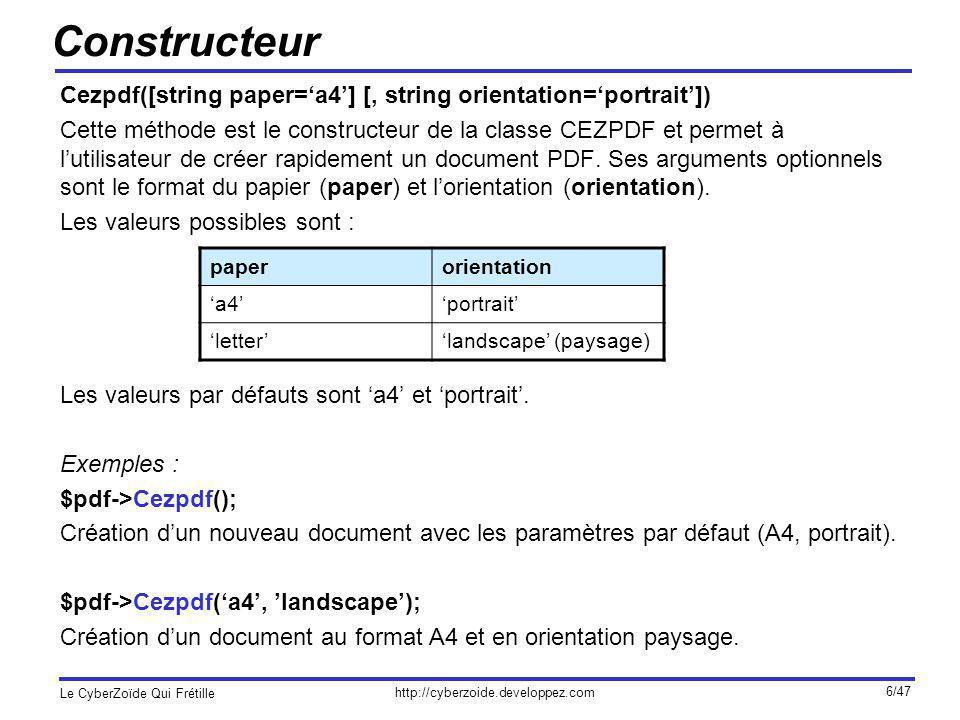 http://cyberzoide.developpez.com Le CyberZoïde Qui Frétille 7/47 Texte (I) ezText(string text [, int size] [, array options]) Cette méthode ajoute un bloc de texte dans la page courante aux positions x et y courantes.