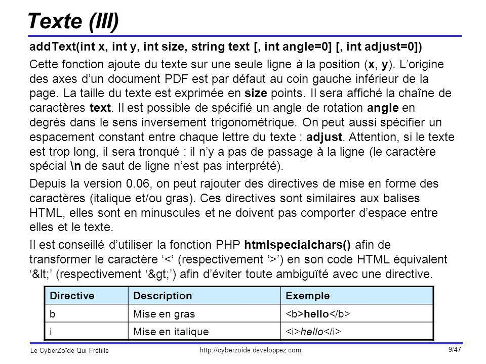 http://cyberzoide.developpez.com Le CyberZoïde Qui Frétille 9/47 Texte (III) addText(int x, int y, int size, string text [, int angle=0] [, int adjust