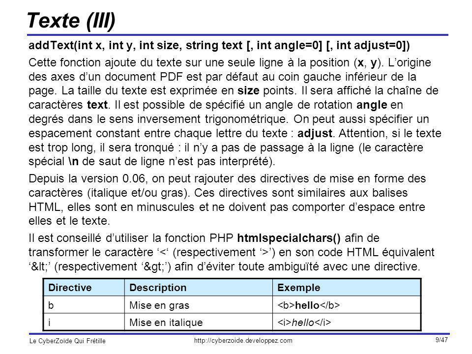 http://cyberzoide.developpez.com Le CyberZoïde Qui Frétille 10/47 Texte (IV) Exemple 1 : $pdf->addText(100, 200, 12, Hello word); Ajout du texte Hello Word de taille 12 à la position (100, 200).