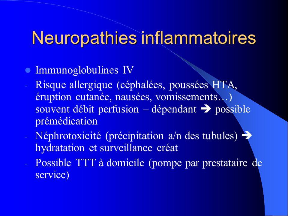 Neuropathies inflammatoires Immunoglobulines IV - Risque allergique (céphalées, poussées HTA, éruption cutanée, nausées, vomissements…) souvent débit