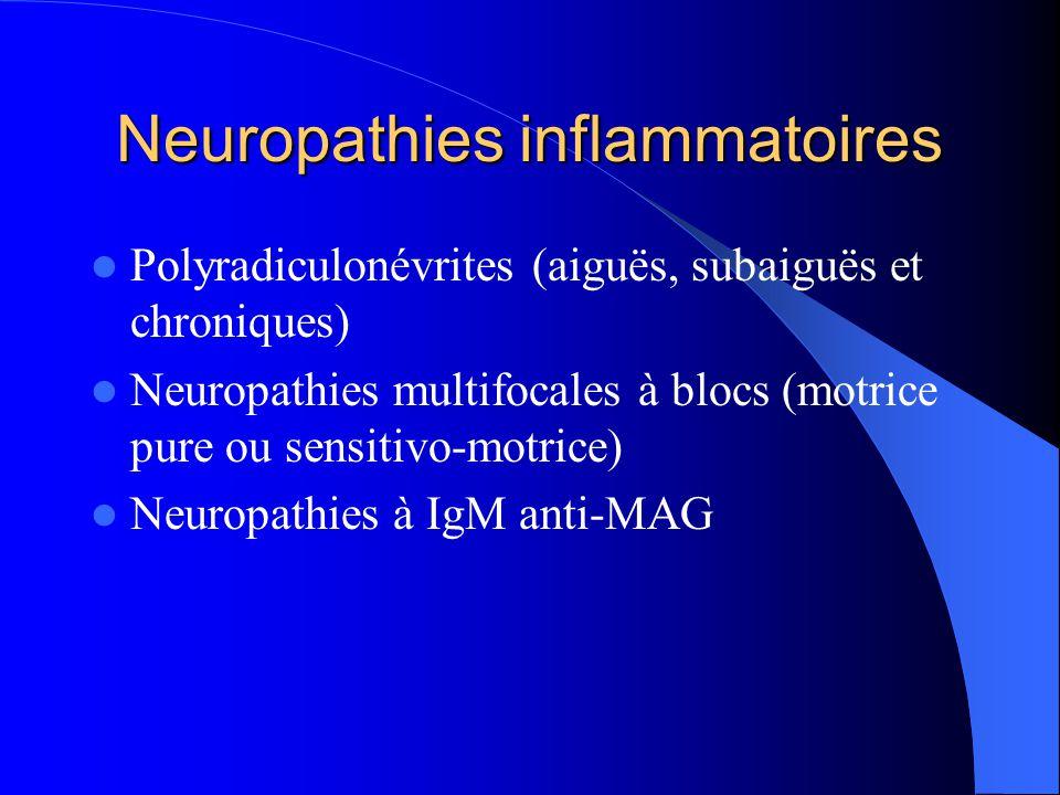 Neuropathies inflammatoires Polyradiculonévrites (aiguës, subaiguës et chroniques) Neuropathies multifocales à blocs (motrice pure ou sensitivo-motric