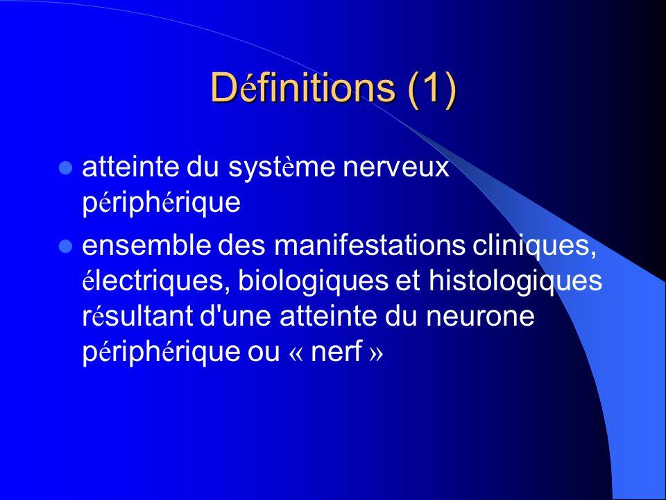 Neuropathies inflammatoires Polyradiculonévrites (aiguës, subaiguës et chroniques) Neuropathies multifocales à blocs (motrice pure ou sensitivo-motrice) Neuropathies à IgM anti-MAG