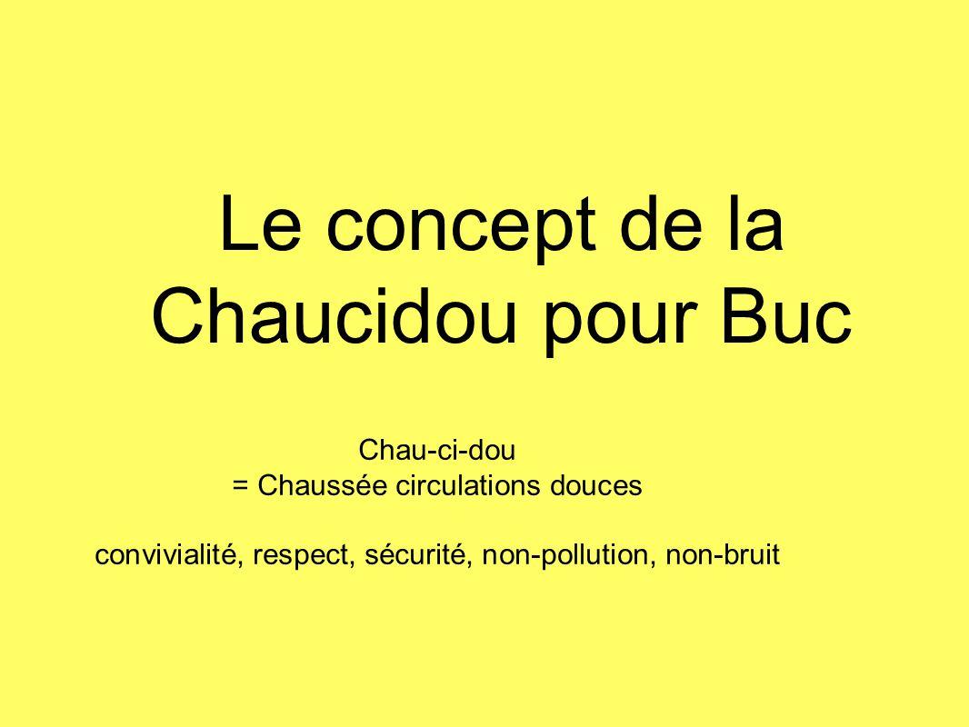 Chau-ci-dou = Chaussée circulations douces convivialité, respect, sécurité, non-pollution, non-bruit Le concept de la Chaucidou pour Buc