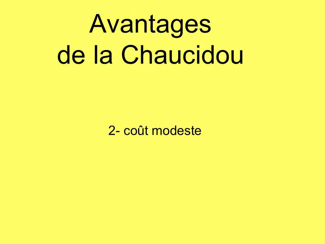 Avantages de la Chaucidou 2- coût modeste