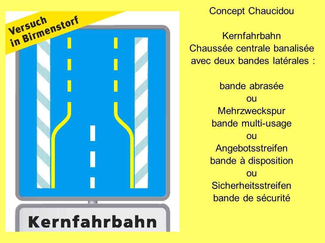Concept Chaucidou Kernfahrbahn Chaussée centrale banalisée avec deux bandes latérales : bande abrasée ou Mehrzweckspur bande multi-usage ou Angebotsst