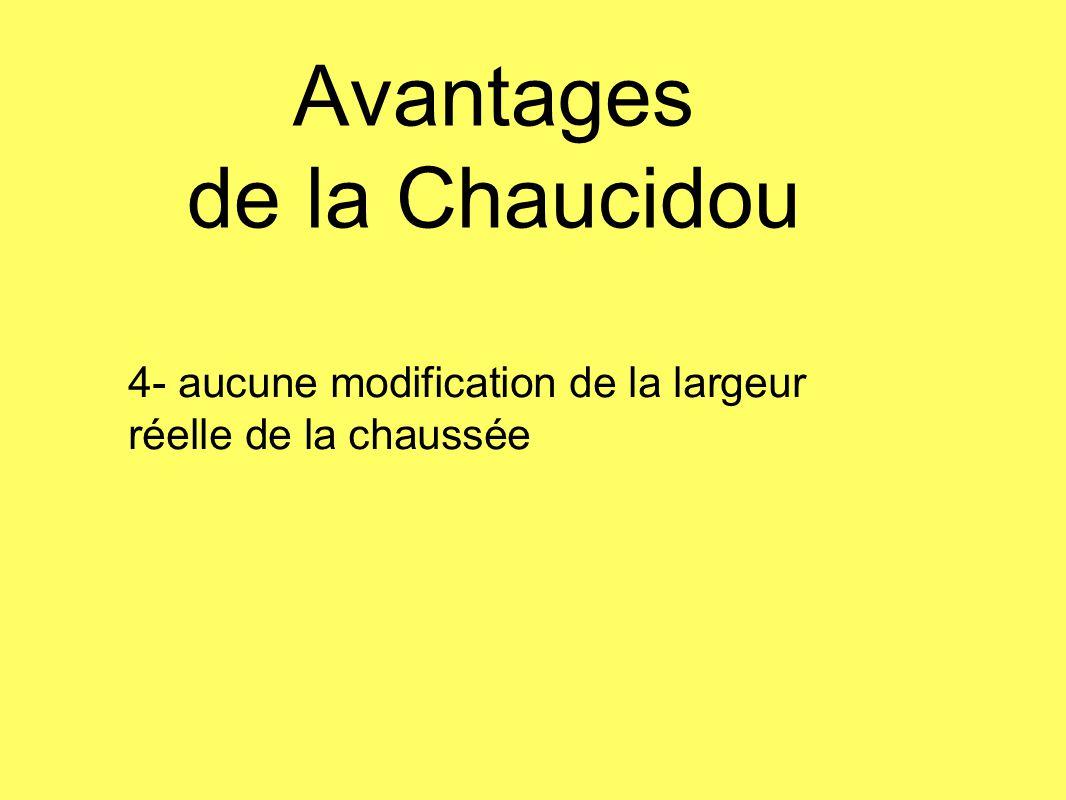 Avantages de la Chaucidou 4- aucune modification de la largeur réelle de la chaussée