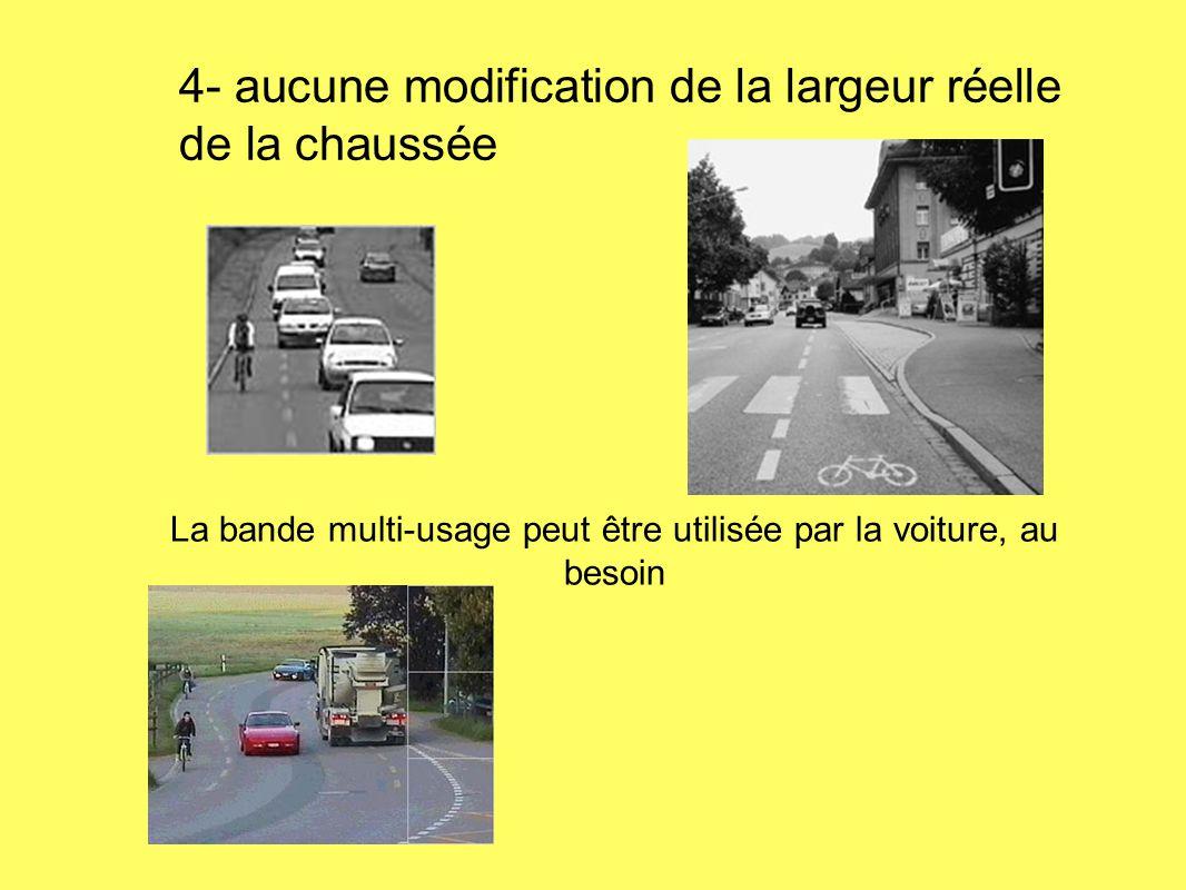 La bande multi-usage peut être utilisée par la voiture, au besoin 4- aucune modification de la largeur réelle de la chaussée