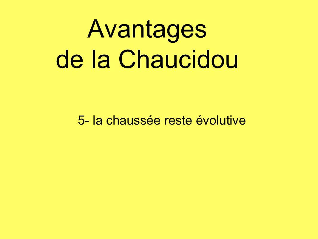 Avantages de la Chaucidou 5- la chaussée reste évolutive