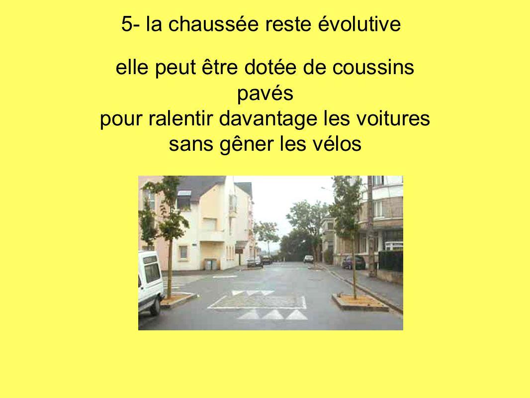 elle peut être dotée de coussins pavés pour ralentir davantage les voitures sans gêner les vélos