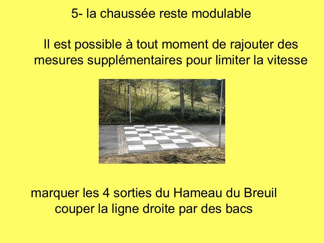 Il est possible à tout moment de rajouter des mesures supplémentaires pour limiter la vitesse 5- la chaussée reste modulable marquer les 4 sorties du