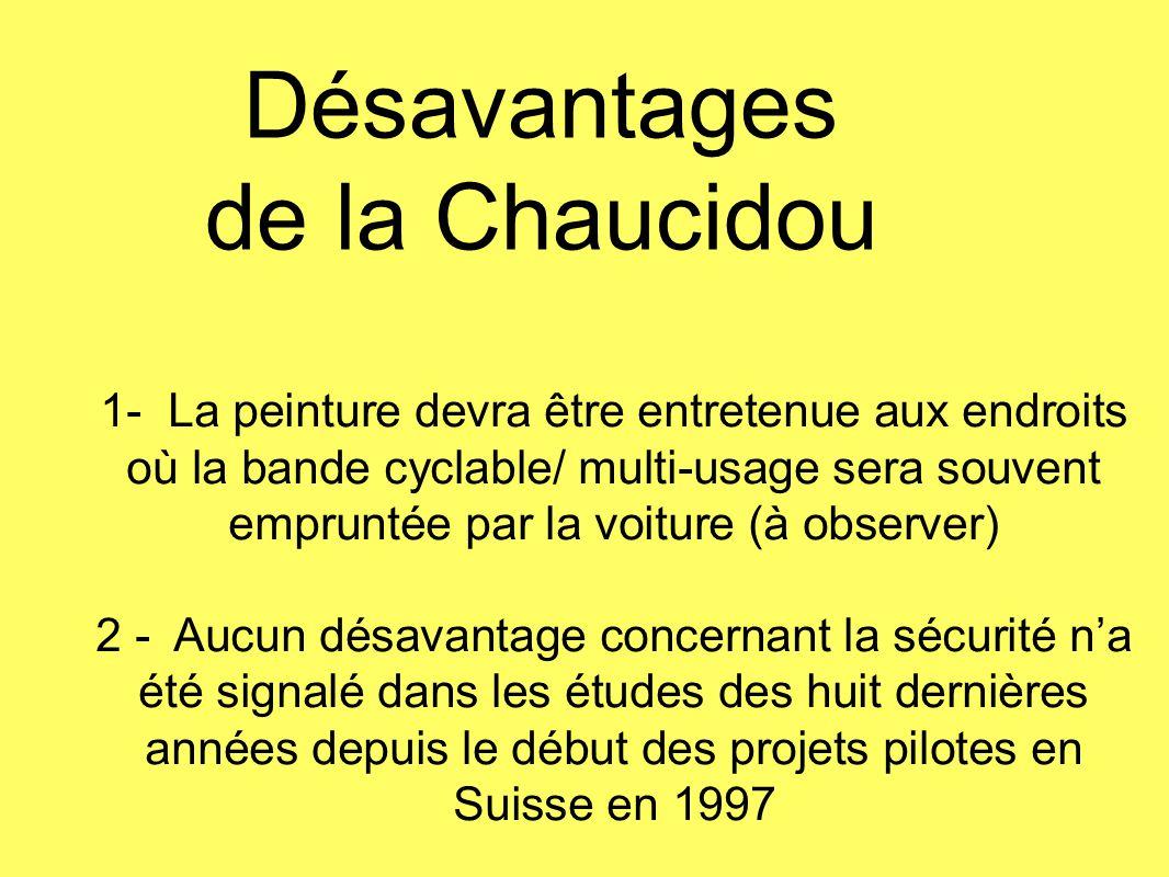 Désavantages de la Chaucidou 1- La peinture devra être entretenue aux endroits où la bande cyclable/ multi-usage sera souvent empruntée par la voiture